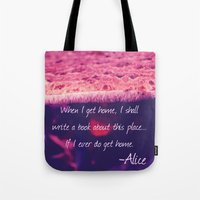 alice wonderland Tote Bags featuring Wonderland by Josrick