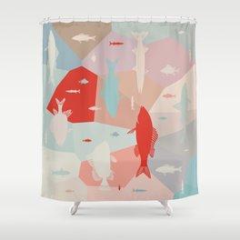 California Pastel Fish Shower Curtain