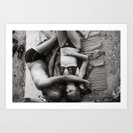 Lovers on the beach Art Print