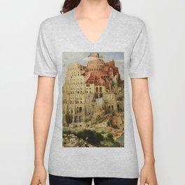 Tower Of Babel Pieter Bruegel The Elder Unisex V-Neck