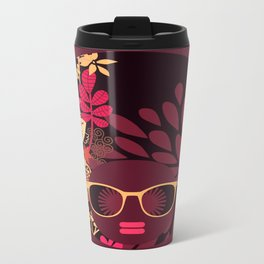 Afro Diva : Sophisticated Lady Deep Pink & Burgundy Travel Mug