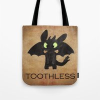 toothless Tote Bags featuring Toothless  by Walko
