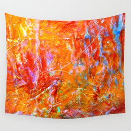 Abstract with Circle in Gold, Red, and Blue Wall Tapestry