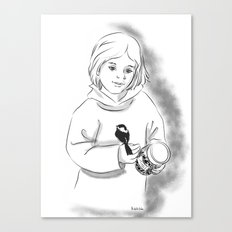 Girl and bird Canvas Print