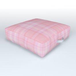 Pink Blush Plaid Pattern Outdoor Floor Cushion