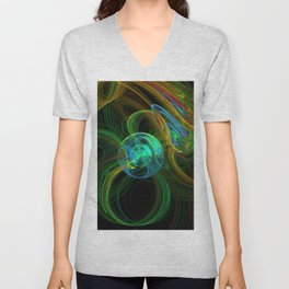 Fractal planetary orbit in vibrant color Unisex V-Neck