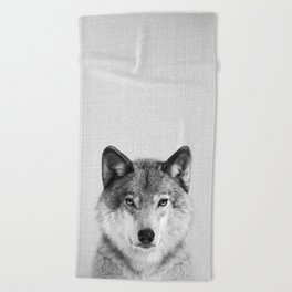 Wolf 2 - Black & White Beach Towel