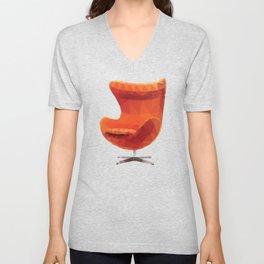 Orange Arne Jacobsen's Egg Chair Polygon Art Unisex V-Neck
