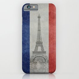 Flag of France with Eiffel Tower Vintage style iPhone Case
