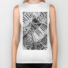 analog synthesizer  - diagonal black and white illustration Biker Tank
