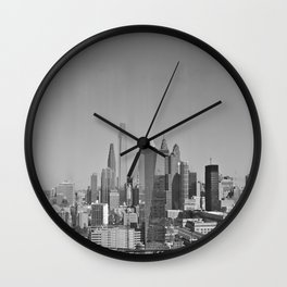 Black and White Philadelphia Skyline Wall Clock