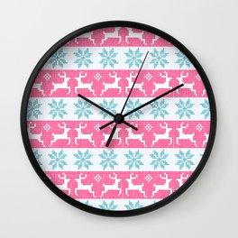 Watercolour Fair Isle in Pink & Blue Wall Clock