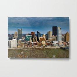 Pittsburgh City Skyline Mount Washington View Metal Print
