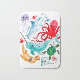 Ocean Creatures - Sea Animals Characters - Watercolor Bath Mat