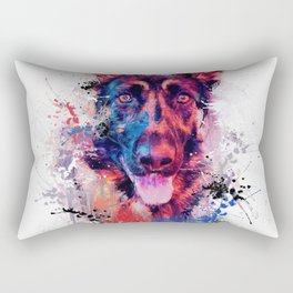 Drippy Jazzy German Shepherd Colorful Dog Art by Jai Johnson Rectangular Pillow
