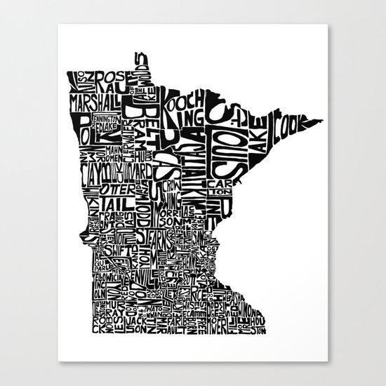 Typographic Minnesota Canvas Print
