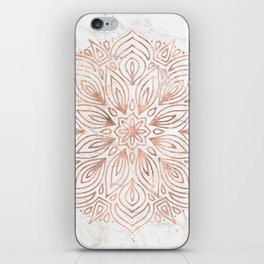 Mandala Rose Gold Quartz on Marble iPhone Skin