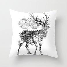 Deer Wanderlust Black and White Throw Pillow