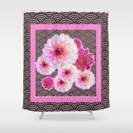 GREY & PINK PATTERNED FUCHSIA CERISE-WHITE DAHLIAS Shower Curtain