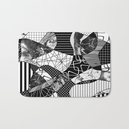 Chaotic Black And White Bath Mat
