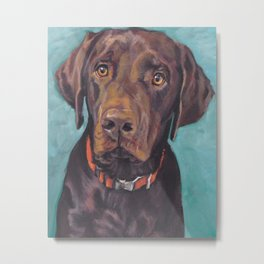 Chocolate lab LABRADOR RETRIEVER dog portrait painting by L.A.Shepard fine art Metal Print