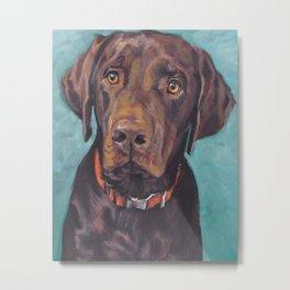 Chocolate lab LABRADOR RETRIEVER dog portrait painting by L.A.Shepard fine art Metal Print