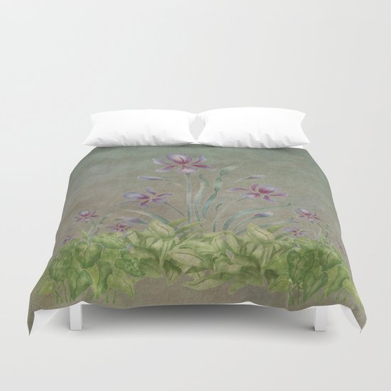 Painterly Spring Flower Garden  Duvet Cover
