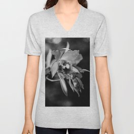 Cattleya Orchid Blooms - Black and White Unisex V-Neck