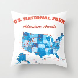 U.S National Parks Map Hiker Camper Summer Vacation Throw Pillow