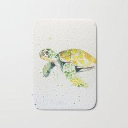 turtle watercolor art Bath Mat