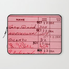 Library Card 23322 Pink Laptop Sleeve