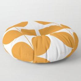 Mid Century Modern Leaves Orange Floor Pillow