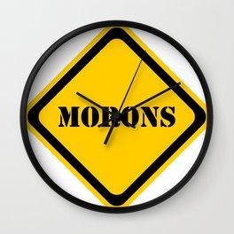 Hazard - Morons Ahead Wall Clock