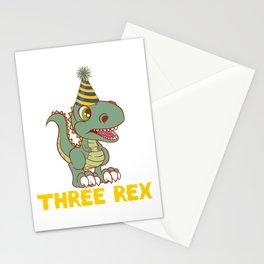 "Great Kid Birthday Shirt For Their Dinosaur Themed 3rd Birthday ""Three Rex"" T-shirt Design Cap Hat Stationery Cards"