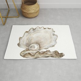 Watercolor Seashell Painting on White 2 Minimalist Coast - Sea - Beach - Shore Rug