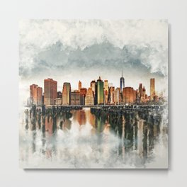 New York City Manhattan Skyline- mixed media Metal Print