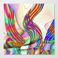 techno Canvas Prints featuring techno-doodle by David  Gough