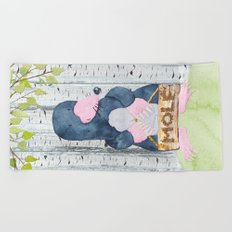 The busy Mole - Woodland Friends- Watercolor Illustration Beach Towel
