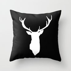 Deer Black and White Throw Pillow