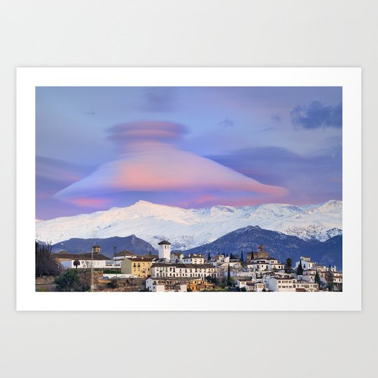 NASA APOD. ASTRONOMY PICTURE OF THE DAY! Lenticular clouds over Granada and Sierra Nevada at sunset Art Print