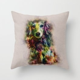 Dachshund Puppy Sketch Paint Throw Pillow