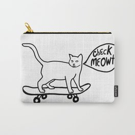 Check MEOWT! Skateboarding Cat Black White Carry-All Pouch