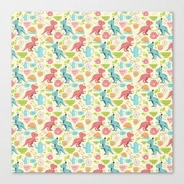 Tea Rex seamless pattern Canvas Print