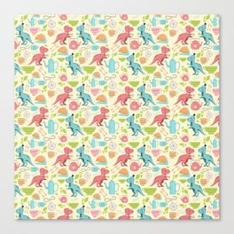Tea Rex seamless pattern Canvas Print