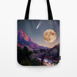 zion national park full moon and comet Tote Bag
