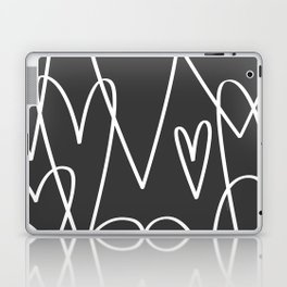 Doodle Hearts in Black by Friztin Laptop & iPad Skin