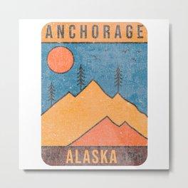 Alaska Anchorage Mountain Vintage Retro 80s Souvenirs Metal Print