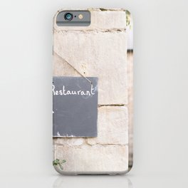 HOTEL & RESTAURANT SIGNAGE POSTED ON CONCRETE WALL iPhone Case