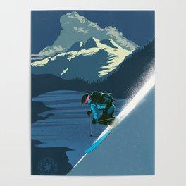 Retro Sunset Alpine Ski Travel Poster Poster