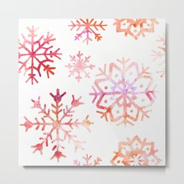 Red Watercolor Snowflakes Metal Print